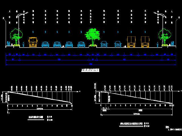 2016年新建双向6车道城市主干路市政道路工程施工图212张CAD(路涵排水交通照明绿化)