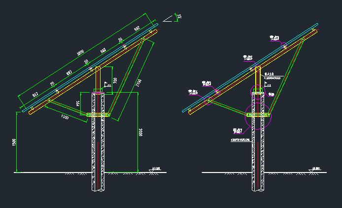 预应力混凝土管桩光伏支架设计图_3
