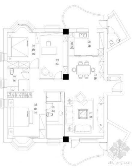 某三室两厅套间装修方案图-2