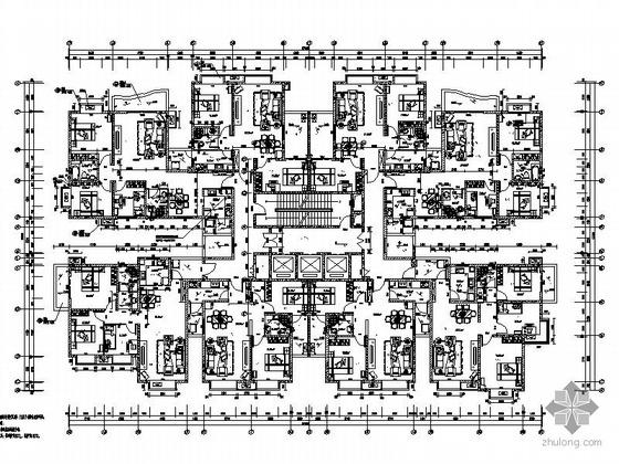塔式高层一梯八户户型图