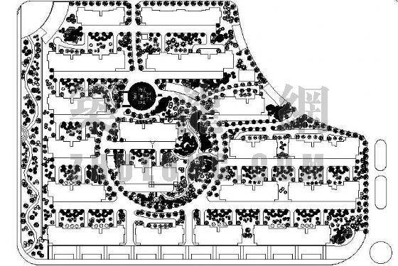 某拆迁安置小区绿化平面图