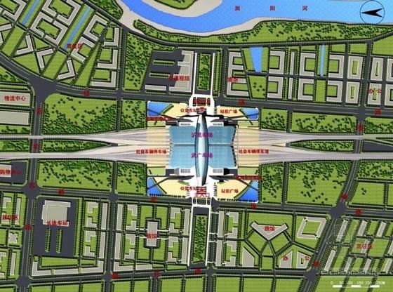 现代风格高铁站建筑设计总平面图