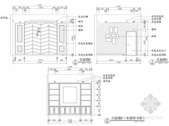 [沈阳]知名地产核心区新古典风格四居室样板间设计方案主卧书房立面图
