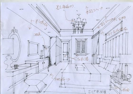 [武汉]主题公园生态区时尚现代三居室装修施工图(含效果实景图及手绘图)卧室手绘图