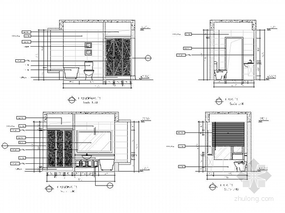 [重庆]时尚现代风格三居室室内装修施工图主卫及衣帽间立面图