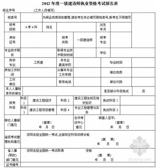 2012年度一级建造师考试报名表(7页完全版)