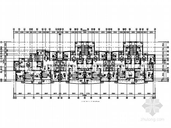 某高层板式住宅户型图(110-150平方米)