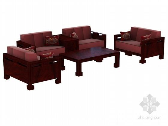 实木沙发组合3D模型下载