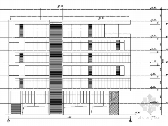 现代风格六层办公楼立面图