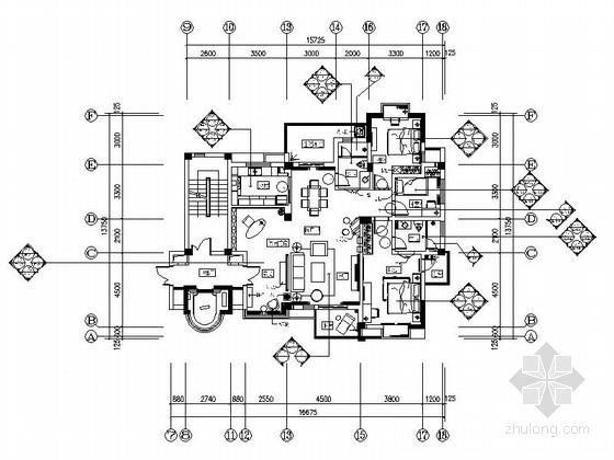 [武汉]主题公园生态区时尚现代三居室装修施工图(含效果实景图及手绘图)