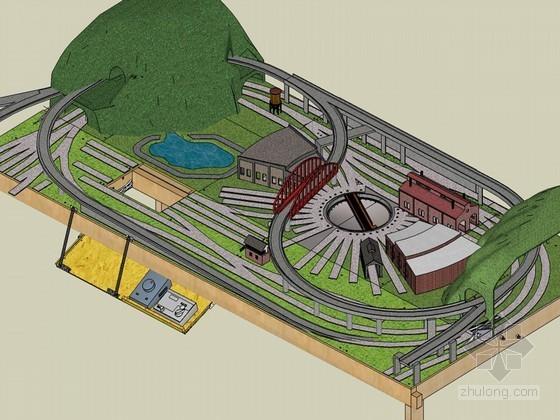 游戏赛车场景模型SketchUp模型下载