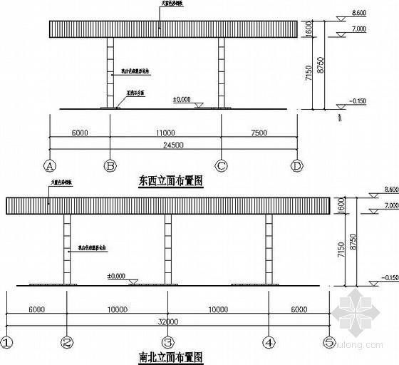 一层钢结构门头房建筑结构施工图