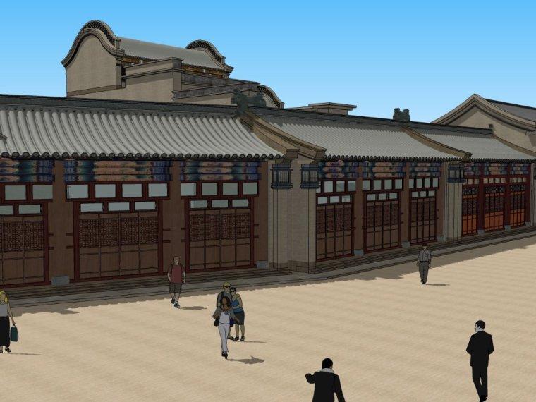 中式风格建筑2层中式商业街su精模设计