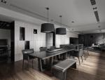 黑白灰木质空间餐厅3D模型(附效果图)