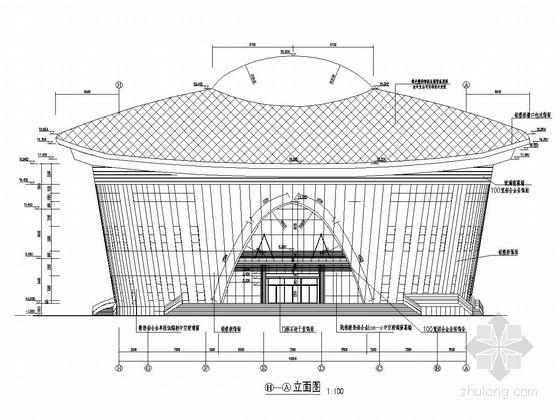 [湖南]三层框架及网架结构艺术体育中心结构施工图(含建筑图)