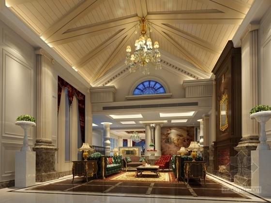 [重庆]高档豪华欧式风格酒店式别墅室内装修施工图(含效果图)欧式客厅效果图
