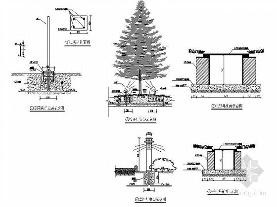 [浙江]现代工业园区景观改造设计施工图-照明安装大样图