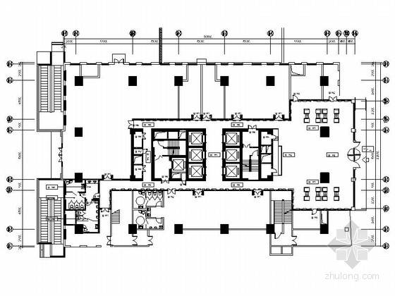 [江苏]国际综合性投资集团塔楼办公楼公共空间设计施工图(含效果)