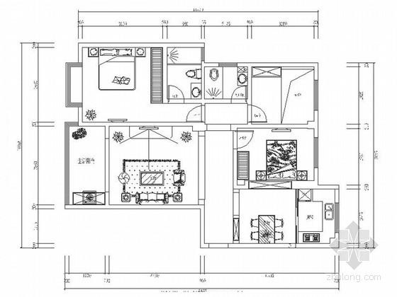 精品浪漫法式风格三居室室内装修施工图(含效果)