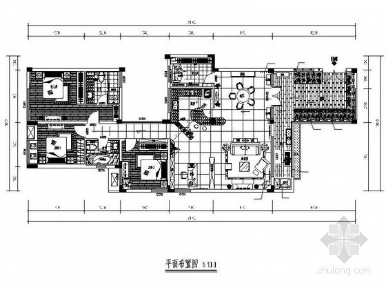 [四川]现代简约三居室样板间装修施工图(含效果)