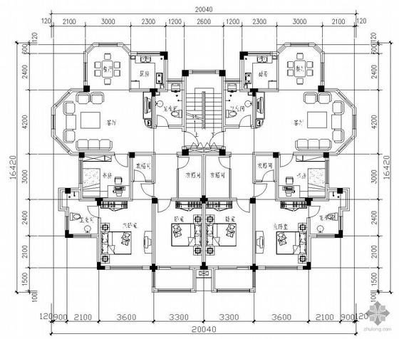 板式多层一梯二户二室一厅二卫户型图(112/112)