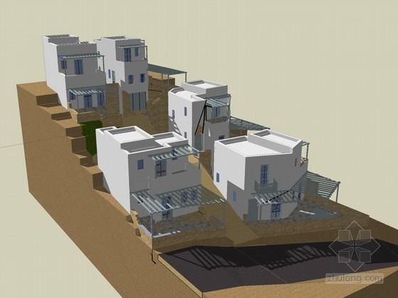 坡地住宅楼SketchUp模型下载
