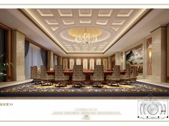 [苏州]奢华欧式风格商务会所三层健身娱乐区室内装修图(含效果) 会议室效果