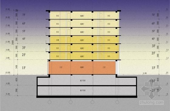 [安徽]七层开放抒情性办公综合体建筑设计方案文本-七层开放抒情性办公综合体建筑剖面图