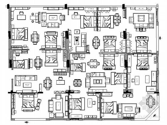 知名品牌现代时尚家具专卖店CAD装修施工图