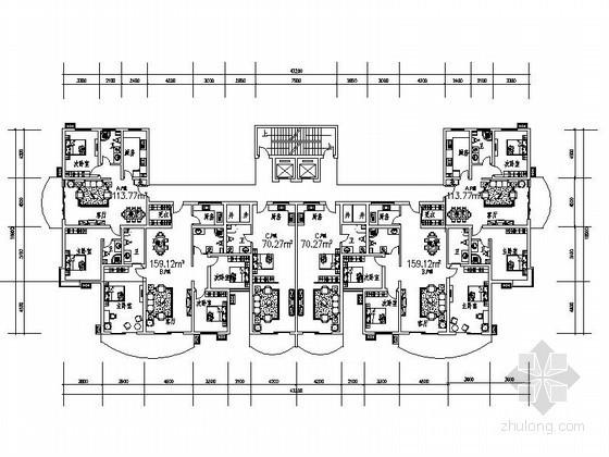 某塔式高层住宅一梯六户户型图(70/110/160)