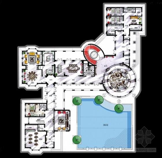 [广东]奢华欧式风格老总别墅室内装修概念及软装设计方案(含cad平面图)