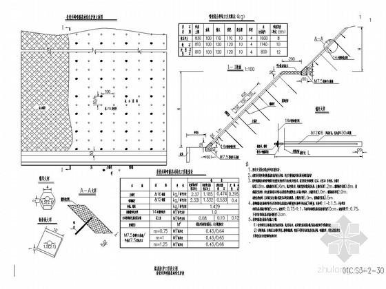 挂铁丝网喷播基材绿化护坡设计图