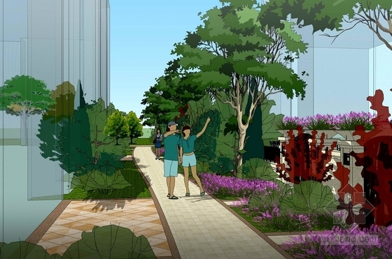 [北京]尊贵风情古典别墅规划设计方案-休闲公园效果图