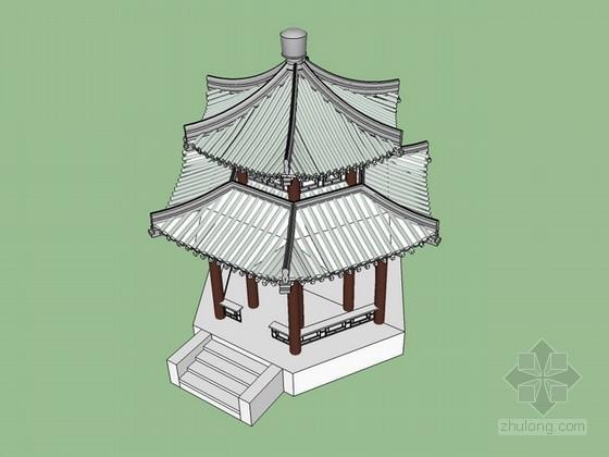 六角重檐古亭sketchup模型