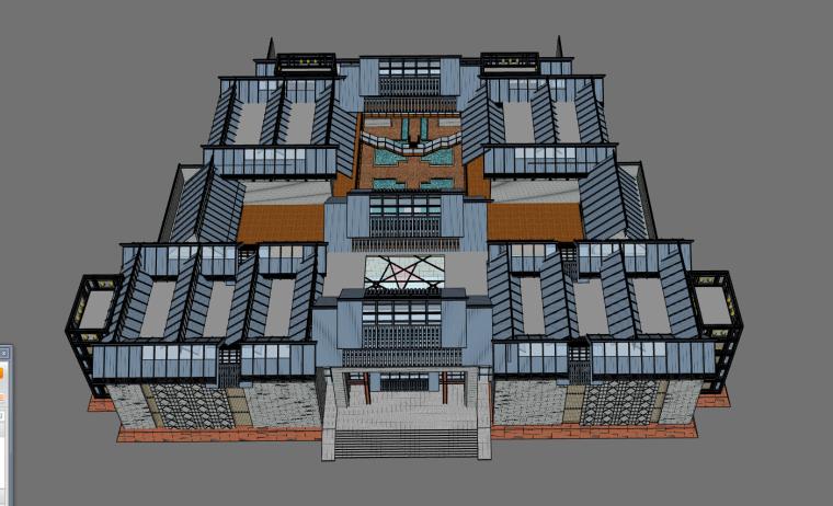 SU 模型新中式紀念館,可以抄的好模型