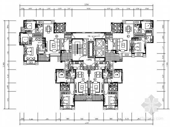 某高层一梯四住宅楼户型平面图(80、100、120平方米)