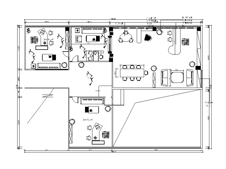 经理办公室设计CAD施工图(含效果图)