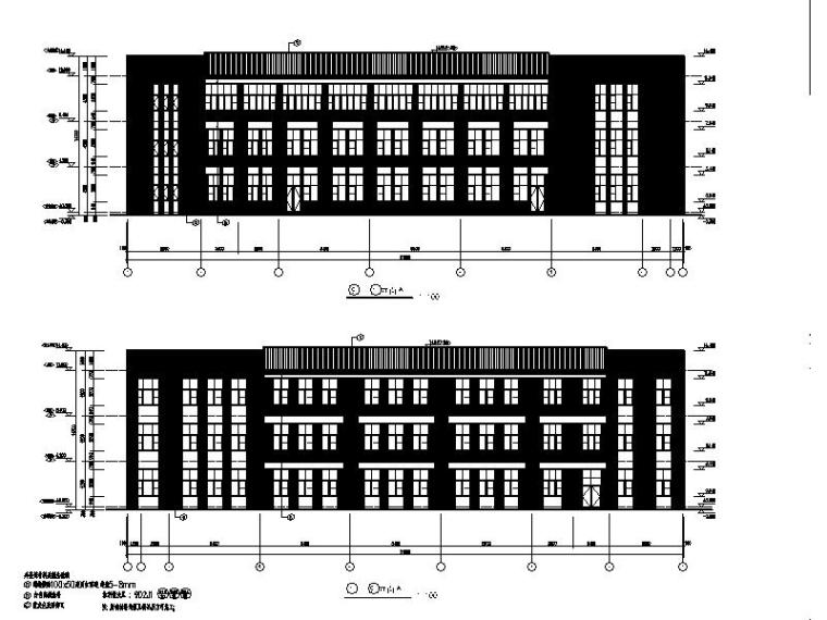 [宁夏]经典学院风格中学教学楼建筑施工图-经典学院风格中学教学楼立面图
