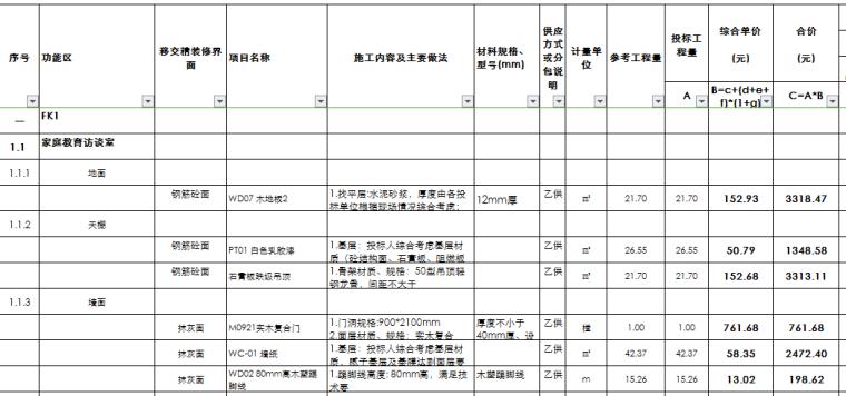 [成都]户内精装修及安装改造工程量清单
