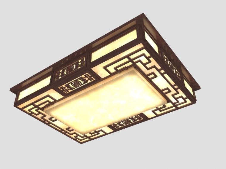 方形中式灯3D模型下载