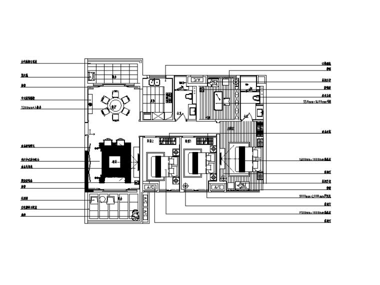 [广东]新中式样板房设计CAD施工图(含实景图和效果图)
