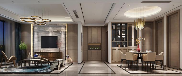 [贤二设计]180平兰亭湾畔新中式风格案例赏析