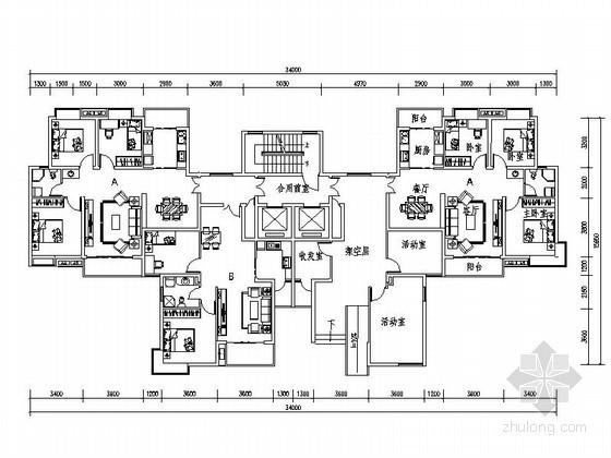 小高层住宅一梯四户型平面图(84、104平方米)