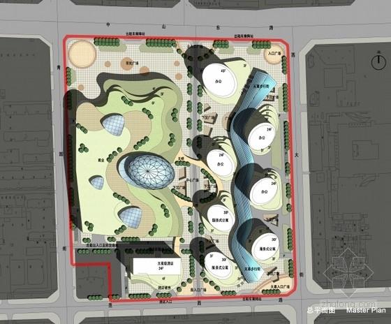 现代风格城市商业综合体设计方案总平面图