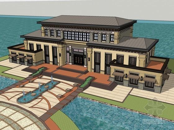欧式水景会所SketchUp模型下载