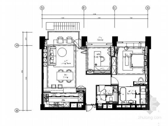 [上海]知名设计事务所精装样板房室内设计CAD施工图(含实景照片)