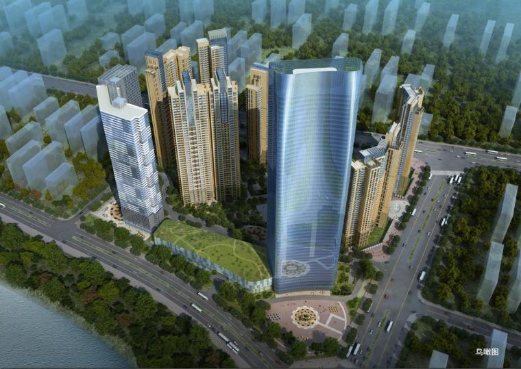 [湖南]超高层现代幕墙立面滨水城市综合体建筑设计方案文本