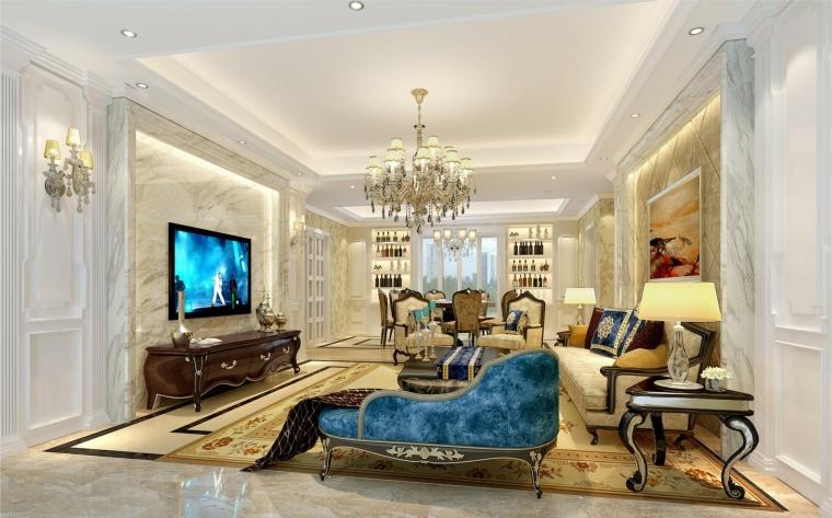 客厅效果图-深圳南山绿海湾170平方米4居室(优雅欧式)第1张图片