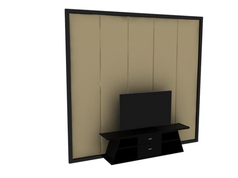 简约中式电视墙3D模型下载