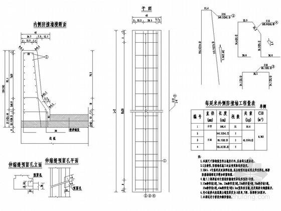 桥梁防撞墙护栏设计图——桥梁内侧防撞墙,桥梁外侧防撞墙,桥梁耳墙图片